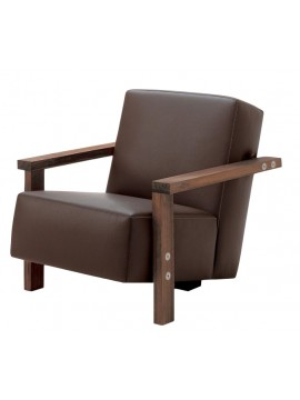 Armchair in leather Riva 1920 Berbena design Riccardo Arbizzoni