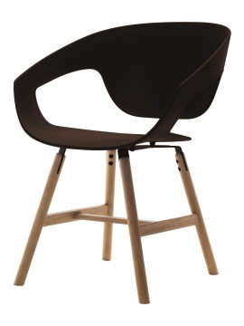 Armchair in fabric or leather Casamania Vad Wood design Luca Nichetto
