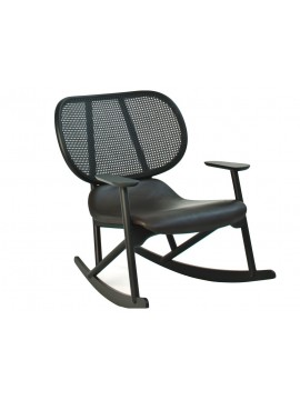 Rocking armchair with back in cane Moroso Klara design Patricia Urquiola