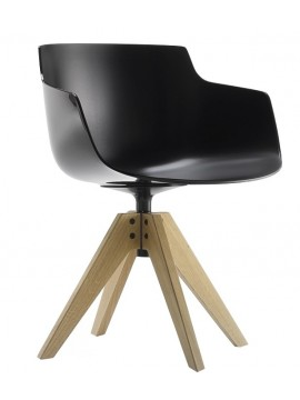 Chair with armrest Mdf Italia Flow Slim - 4 gambe rovere VN design Jean Marie Massaud