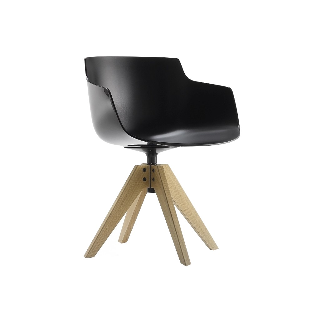 chair with armrest mdf italia flow slim 4 gambe rovere vn design jean marie massaud. Black Bedroom Furniture Sets. Home Design Ideas