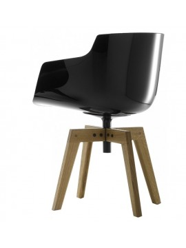 Chair with armrest Mdf Italia Flow Slim - 4 gambe rovere design Jean Marie Massaud