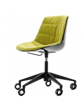 Chair padded Mdf Italia Flow chair - 5 razze regolabile con ruote design Jean Marie Massaud