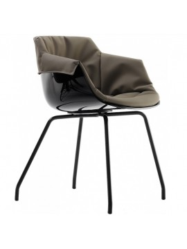 Chair padded Mdf Italia Flow Slim XL  - 4 gambe cromo design Jean Marie Massaud
