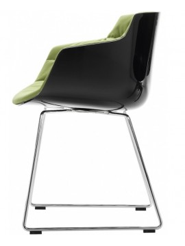 Chair padded Mdf Italia Flow Slim - Slitta design Jean Marie Massaud