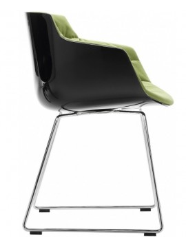 Chair padded Mdf Italia Flow Slim - Slitta cromo design Jean Marie Massaud