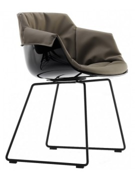 Chair padded Mdf Italia Flow Slim XL - Slitta design Jean Marie Massaud