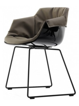 Chair padded Mdf Italia Flow Slim XL - Slitta cromo design Jean Marie Massaud