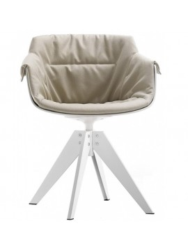 Chair padded Mdf Italia Flow Slim XL - 4 gambe VN acciaio design Jean Marie Massaud