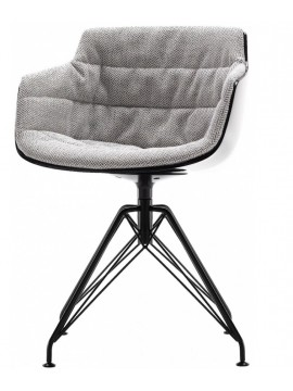 Chair padded Mdf Italia Flow Slim - 4 gambe LEM design Jean Marie Massaud