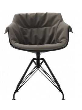 Chair padded Mdf Italia Flow Slim XL - 4 gambe LEM design Jean Marie Massaud