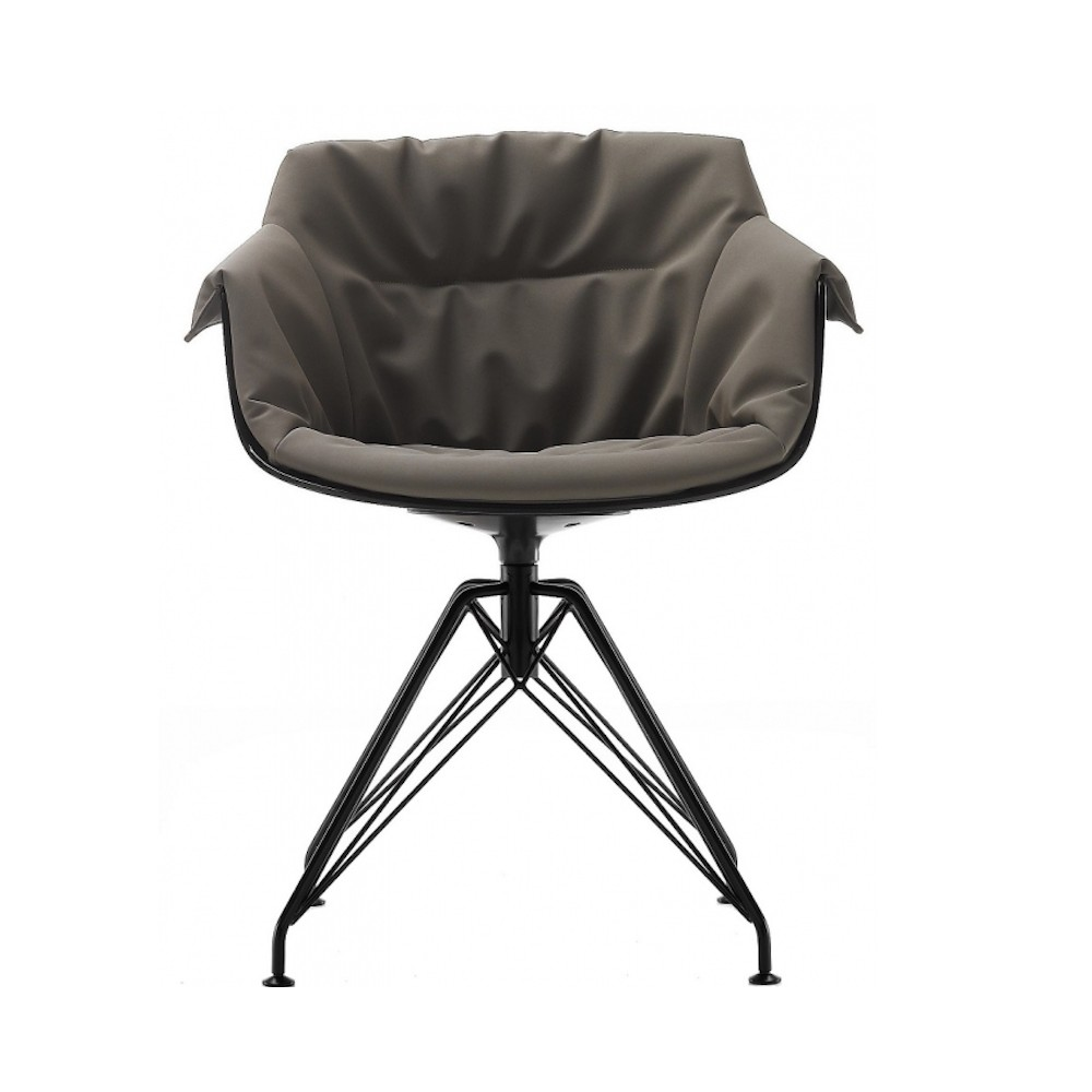 chair padded mdf italia flow slim xl 4 gambe lem design jean marie massaud. Black Bedroom Furniture Sets. Home Design Ideas