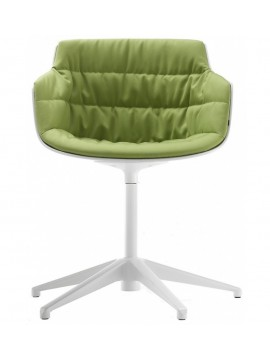 Chair padded Mdf Italia Flow Slim - 5 razze fissa design Jean Marie Massaud