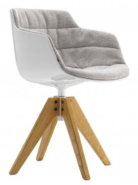 Chair padded Mdf Italia Flow Slim - 4 gambe rovere VN design Jean Marie Massaud