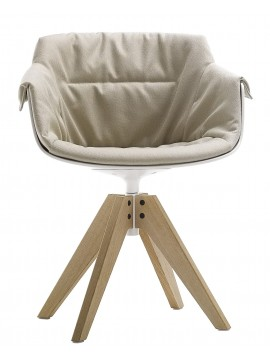 Chair padded Mdf Italia Flow Slim XL - 4 gambe rovere VN design Jean Marie Massaud