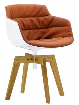 Chair padded Mdf Italia Flow Slim - 4 gambe rovere design Jean Marie Massaud