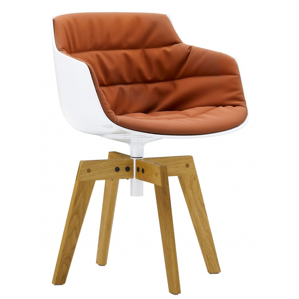 chair padded mdf italia flow slim 4 gambe rovere design jean. Black Bedroom Furniture Sets. Home Design Ideas