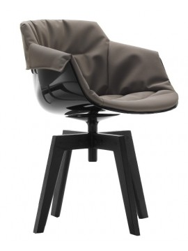 Chair padded Mdf Italia Flow Slim XL - 4 gambe rovere design Jean Marie Massaud