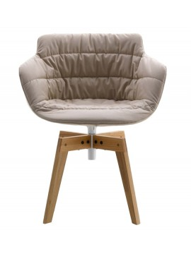 Chair padded Mdf Italia Flow Armchair - 4 gambe rovere design Jean Marie Massaud