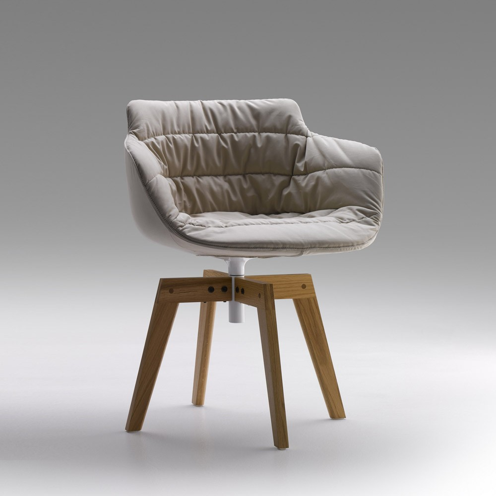 chair padded mdf italia flow armchair 4 gambe rovere design jean marie massaud. Black Bedroom Furniture Sets. Home Design Ideas