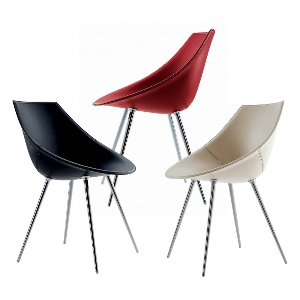 Chair leather driade lago design philippe starck progarr for Philippe starck chaise