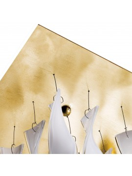 Lamp ceiling Axo Light Aura PL AUR P 30 / fitting gold leaf design Manuel Vivian
