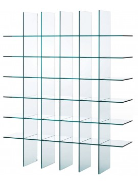 Bibliothèque Glas Italia Glass shelves (1976) design Shiro Kuramata