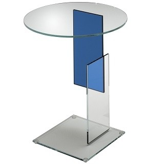Transparent extralight glass with an insert blue