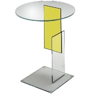 Transparent extralight glass with an insert yellow