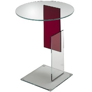 Transparent extralight glass with an insert red